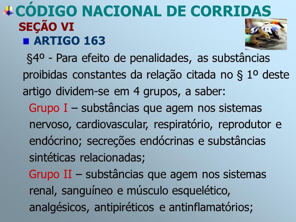 CÓDIGO NACIONAL DE CORRIDAS SEÇÃO VI ARTIGO 163 §4º - Para efeito de penalidades, as substâncias proibidas constantes da relação citada no § 1º deste