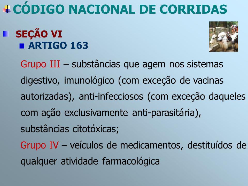CÓDIGO NACIONAL DE CORRIDAS SEÇÃO VI ARTIGO 163 Grupo III – substâncias que agem nos sistemas digestivo, imunológico (com exceção de vacinas autorizad