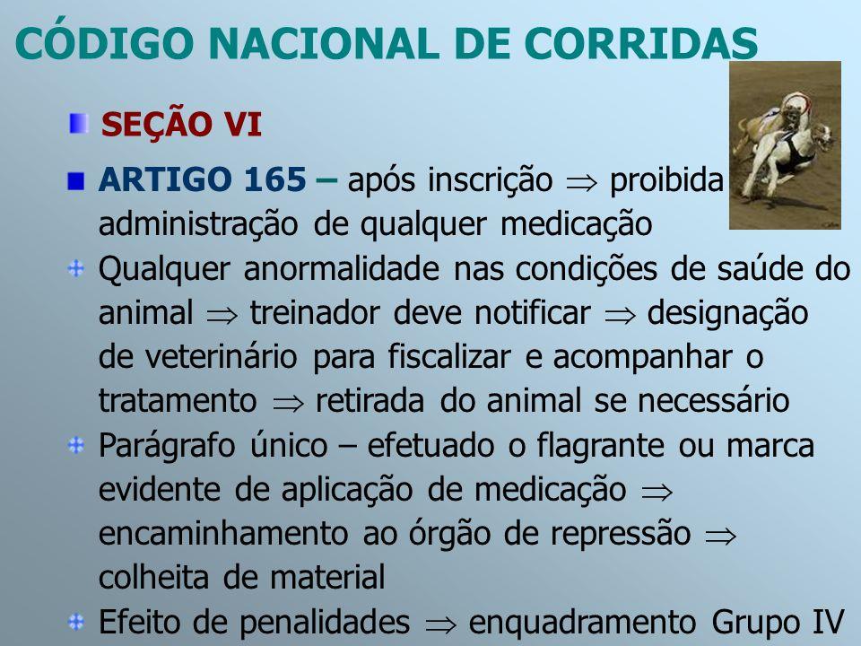 ARTIGO 165 – após inscrição proibida administração de qualquer medicação Qualquer anormalidade nas condições de saúde do animal treinador deve notific