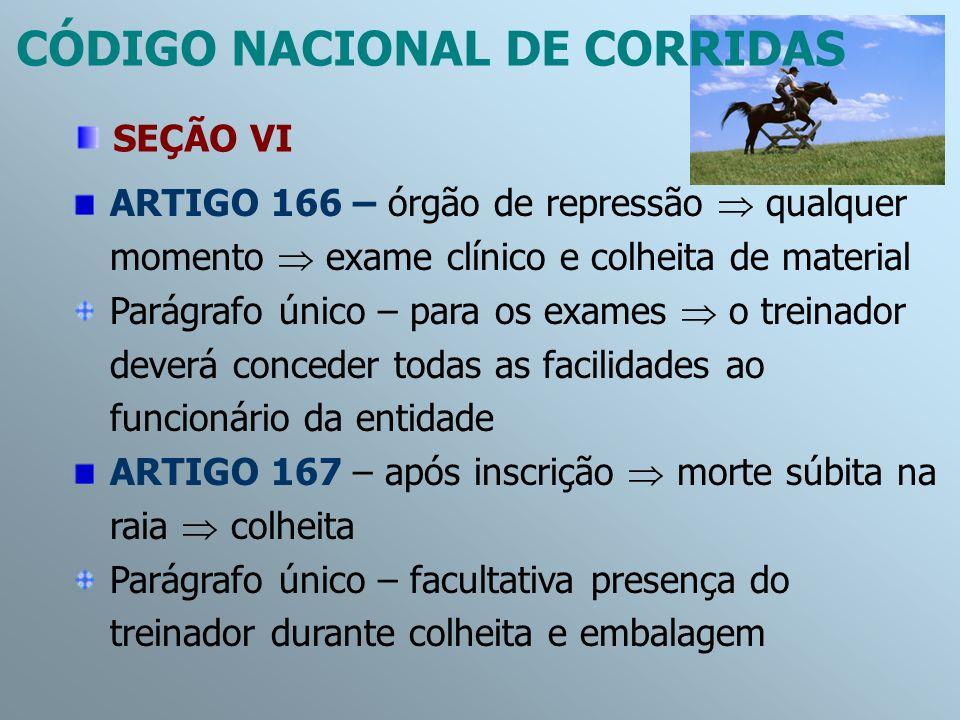 ARTIGO 166 – órgão de repressão qualquer momento exame clínico e colheita de material Parágrafo único – para os exames o treinador deverá conceder tod