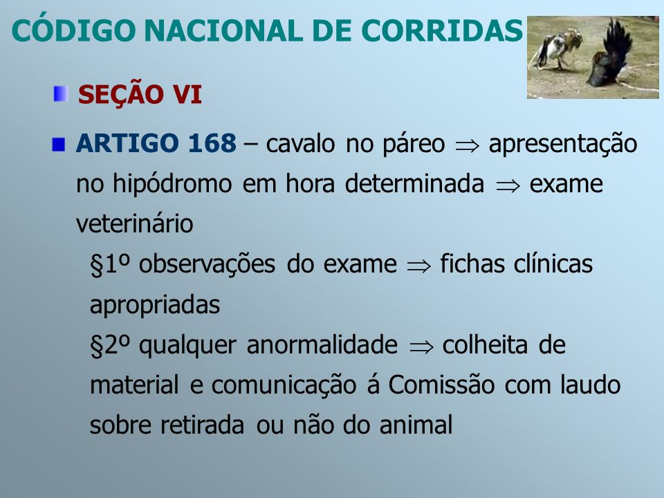 ARTIGO 168 – cavalo no páreo apresentação no hipódromo em hora determinada exame veterinário §1º observações do exame fichas clínicas apropriadas §2º