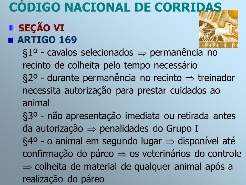 ARTIGO 169 §1º - cavalos selecionados permanência no recinto de colheita pelo tempo necessário §2º - durante permanência no recinto treinador necessit