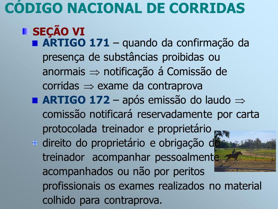 ARTIGO 171 – quando da confirmação da presença de substâncias proibidas ou anormais notificação á Comissão de corridas exame da contraprova ARTIGO 172