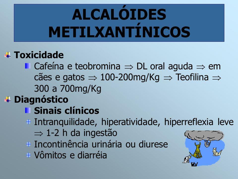 ALCALÓIDES METILXANTÍNICOS Toxicidade Cafeína e teobromina DL oral aguda em cães e gatos 100-200mg/Kg Teofilina 300 a 700mg/Kg Diagnóstico Sinais clín