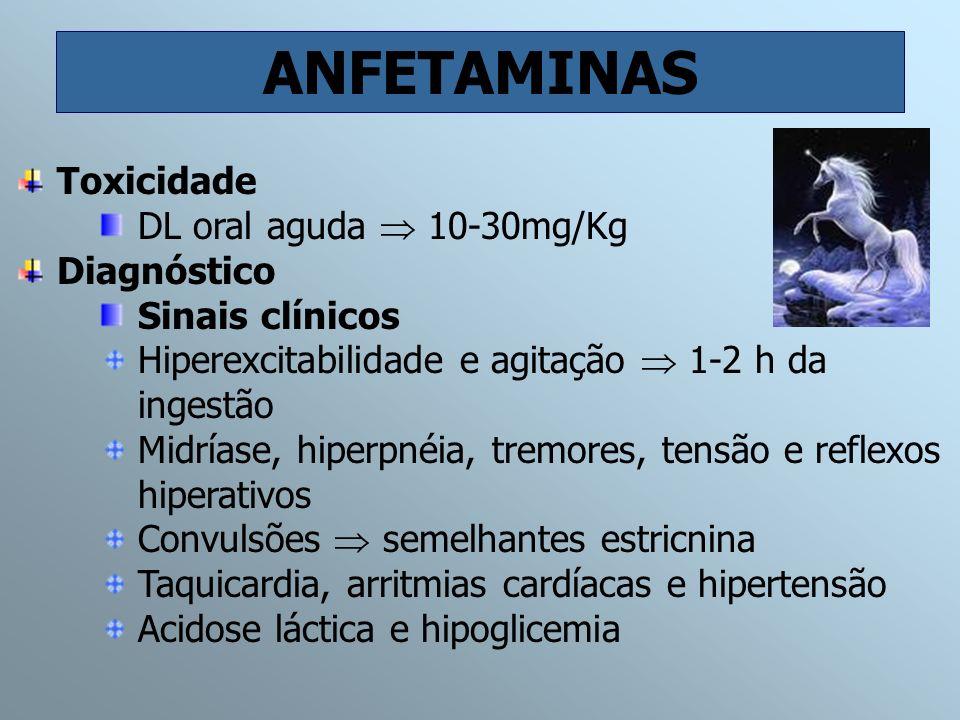 ANFETAMINAS Toxicidade DL oral aguda 10-30mg/Kg Diagnóstico Sinais clínicos Hiperexcitabilidade e agitação 1-2 h da ingestão Midríase, hiperpnéia, tre