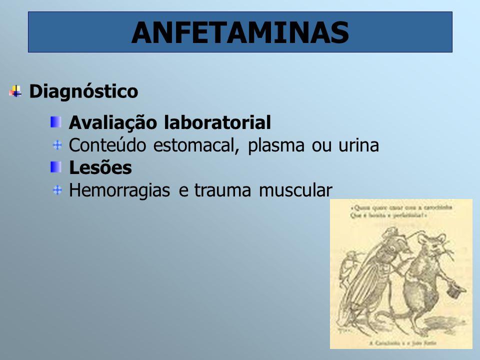 ANFETAMINAS Avaliação laboratorial Conteúdo estomacal, plasma ou urina Lesões Hemorragias e trauma muscular Diagnóstico
