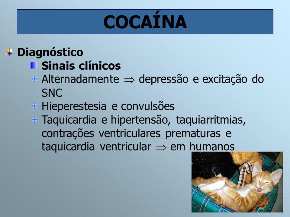 COCAÍNA Diagnóstico Sinais clínicos Alternadamente depressão e excitação do SNC Hieperestesia e convulsões Taquicardia e hipertensão, taquiarritmias,