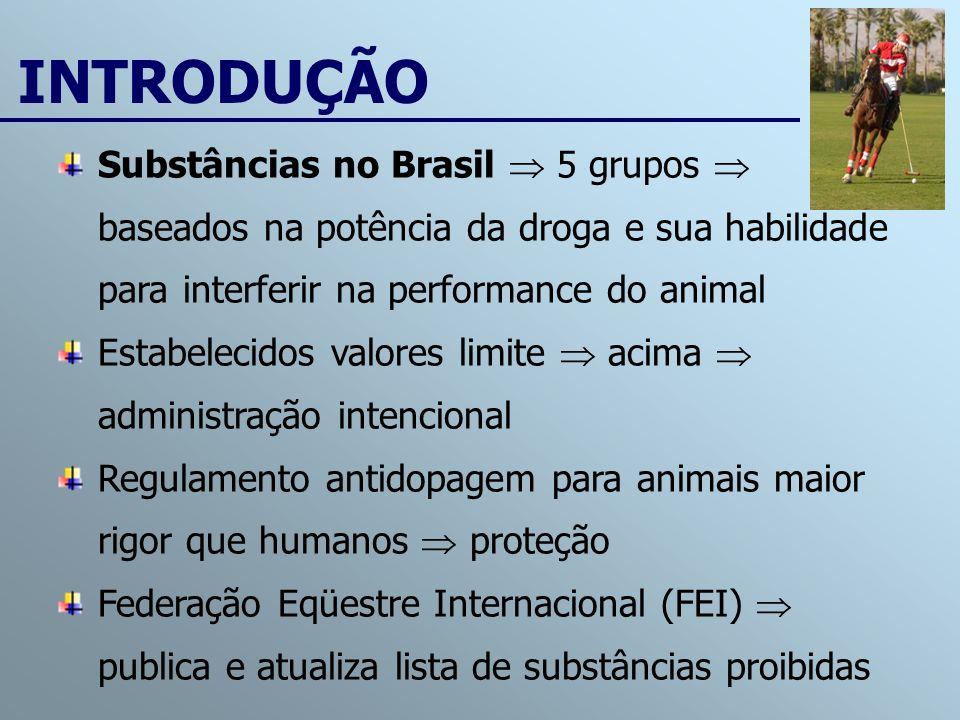 Substâncias no Brasil 5 grupos baseados na potência da droga e sua habilidade para interferir na performance do animal Estabelecidos valores limite ac