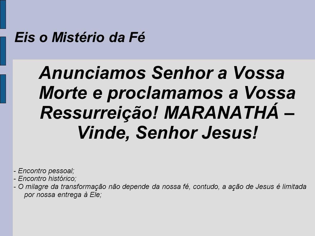 Eis o Mistério da Fé Anunciamos Senhor a Vossa Morte e proclamamos a Vossa Ressurreição! MARANATHÁ – Vinde, Senhor Jesus! - Encontro pessoal; - Encont