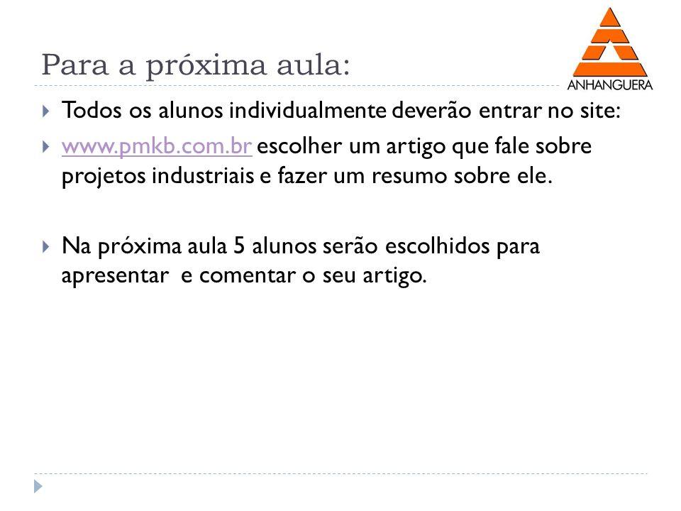 Para a próxima aula: Todos os alunos individualmente deverão entrar no site: www.pmkb.com.br escolher um artigo que fale sobre projetos industriais e