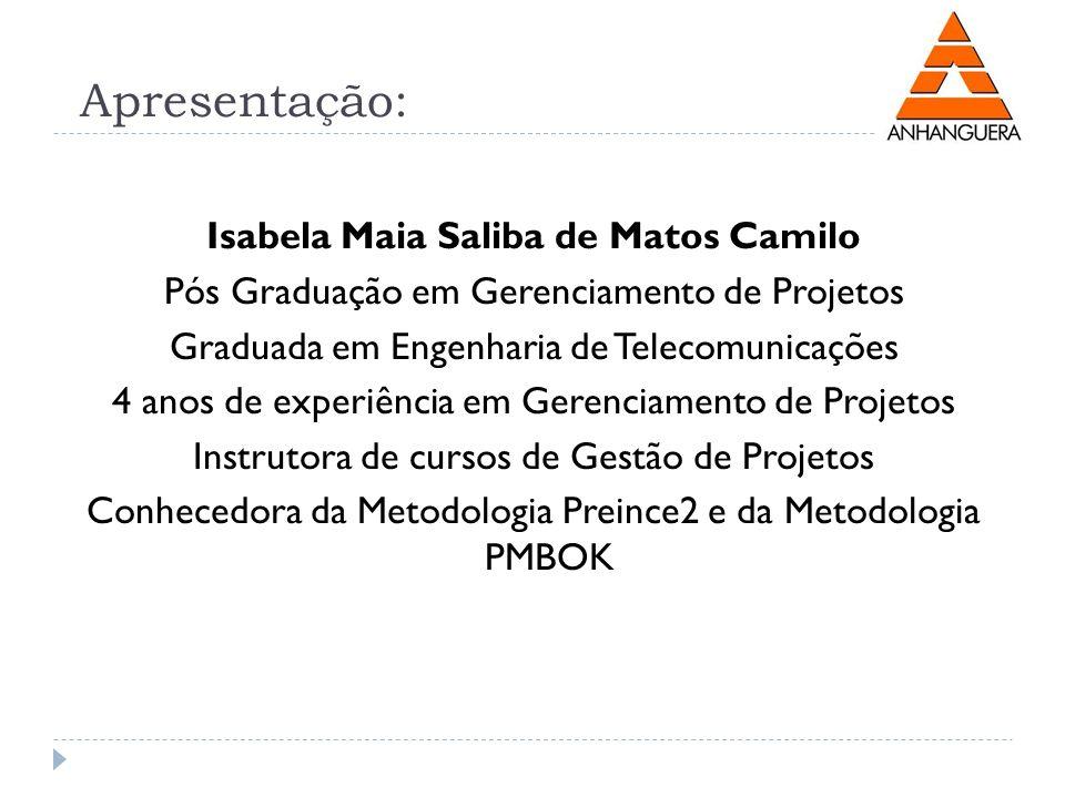 Apresentação: Isabela Maia Saliba de Matos Camilo Pós Graduação em Gerenciamento de Projetos Graduada em Engenharia de Telecomunicações 4 anos de expe