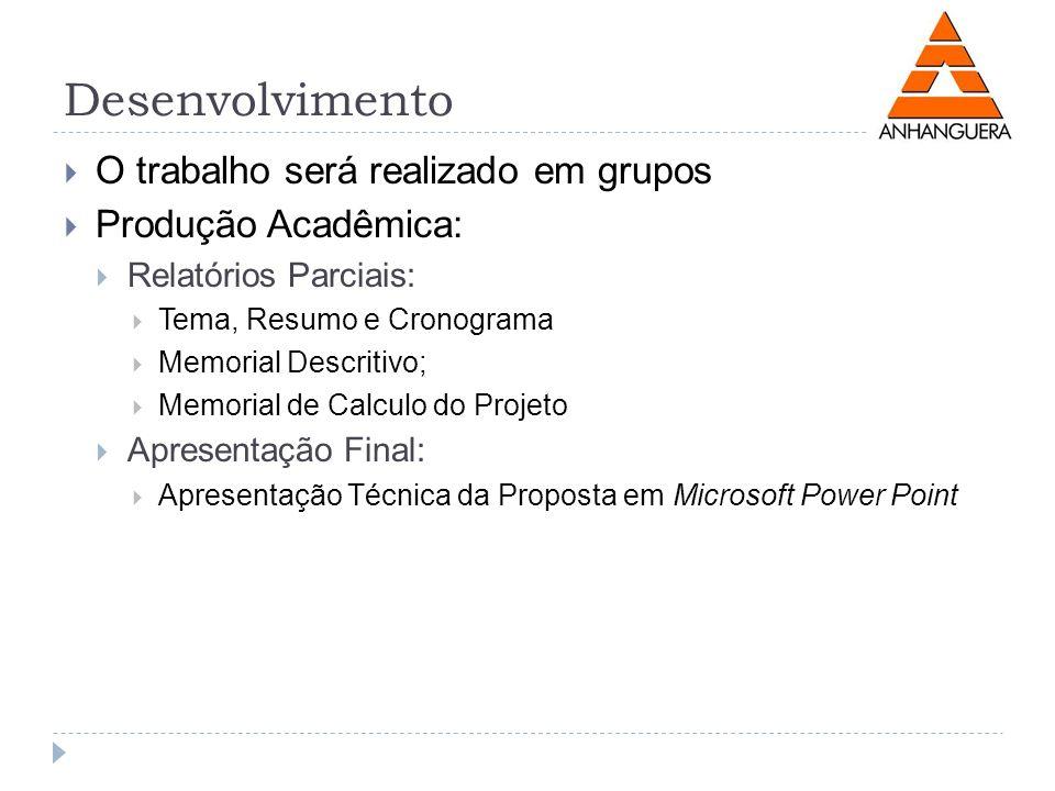 Desenvolvimento O trabalho será realizado em grupos Produção Acadêmica: Relatórios Parciais: Tema, Resumo e Cronograma Memorial Descritivo; Memorial d
