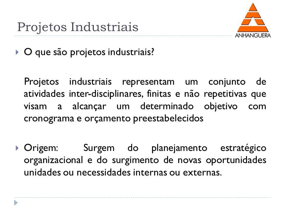 Projetos Industriais O que são projetos industriais? Projetos industriais representam um conjunto de atividades inter-disciplinares, finitas e não rep