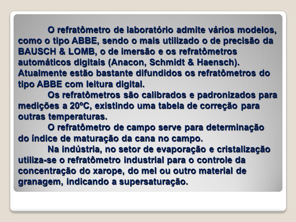 O refratômetro de laboratório admite vários modelos, como o tipo ABBE, sendo o mais utilizado o de precisão da BAUSCH & LOMB, o de imersão e os refrat