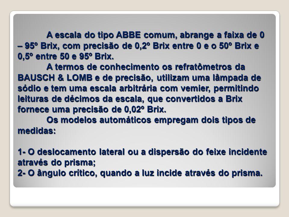 A escala do tipo ABBE comum, abrange a faixa de 0 – 95º Brix, com precisão de 0,2º Brix entre 0 e o 50º Brix e 0,5º entre 50 e 95º Brix. A termos de c