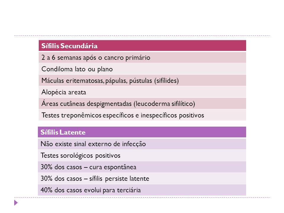 Sífilis Secundária 2 a 6 semanas após o cancro primário Condiloma lato ou plano Máculas eritematosas, pápulas, pústulas (sifílides) Alopécia areata Ár