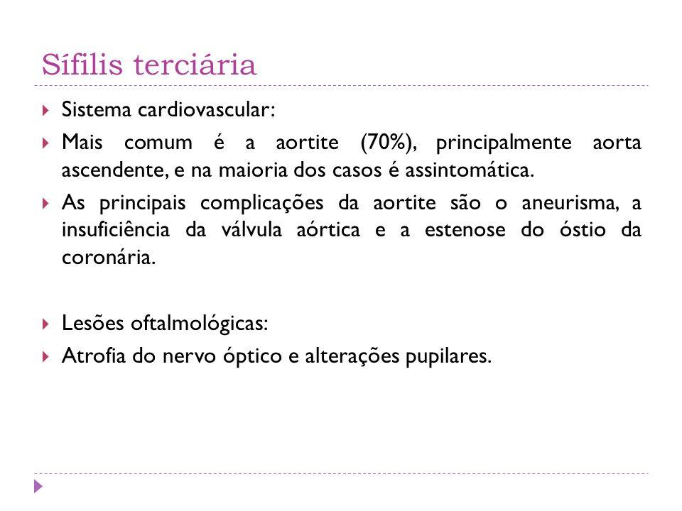 Sífilis terciária Sistema cardiovascular: Mais comum é a aortite (70%), principalmente aorta ascendente, e na maioria dos casos é assintomática. As pr