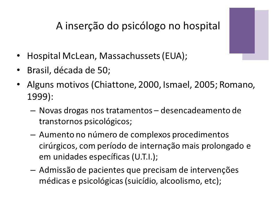 A inserção do psicólogo no hospital Hospital McLean, Massachussets (EUA); Brasil, década de 50; Alguns motivos (Chiattone, 2000, Ismael, 2005; Romano,