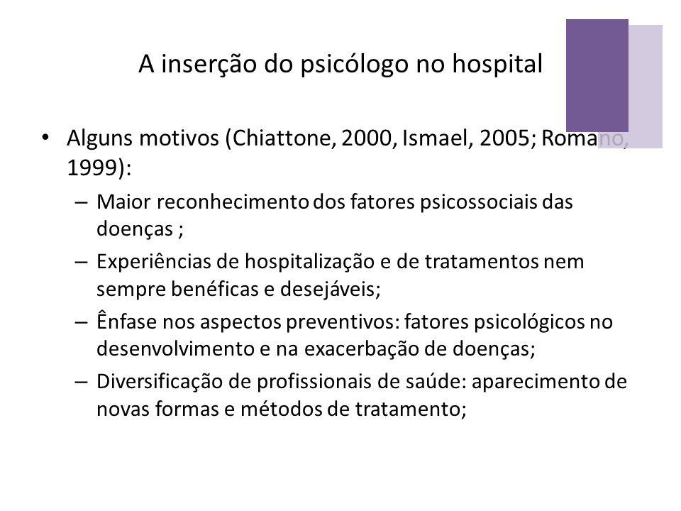 A inserção do psicólogo no hospital Alguns motivos (Chiattone, 2000, Ismael, 2005; Romano, 1999): – Maior reconhecimento dos fatores psicossociais das