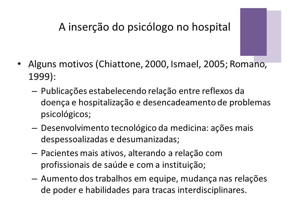A inserção do psicólogo no hospital Alguns motivos (Chiattone, 2000, Ismael, 2005; Romano, 1999): – Publicações estabelecendo relação entre reflexos d