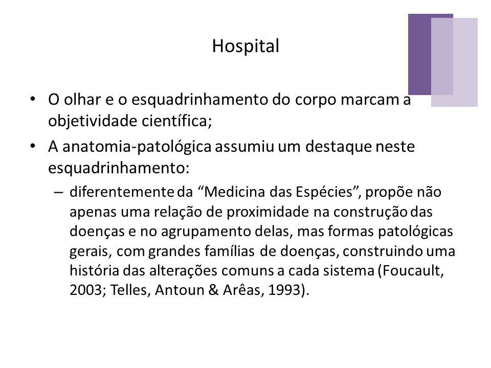 Hospital O olhar e o esquadrinhamento do corpo marcam a objetividade científica; A anatomia-patológica assumiu um destaque neste esquadrinhamento: – d