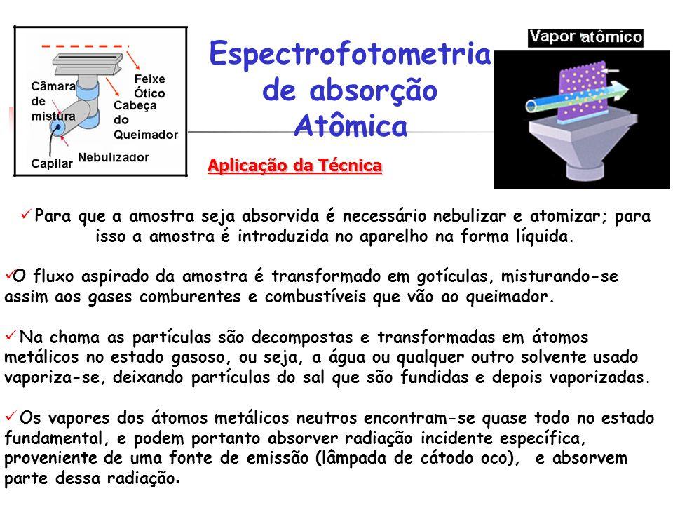 Para que a amostra seja absorvida é necessário nebulizar e atomizar; para isso a amostra é introduzida no aparelho na forma líquida. O fluxo aspirado