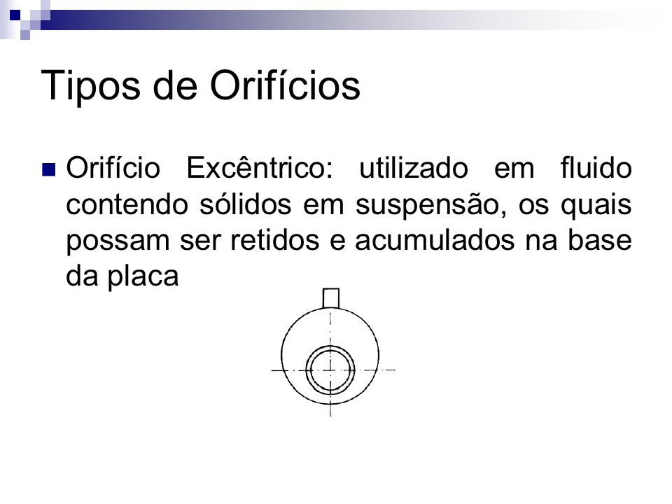 Tipos de Orifícios Orifício Excêntrico: utilizado em fluido contendo sólidos em suspensão, os quais possam ser retidos e acumulados na base da placa