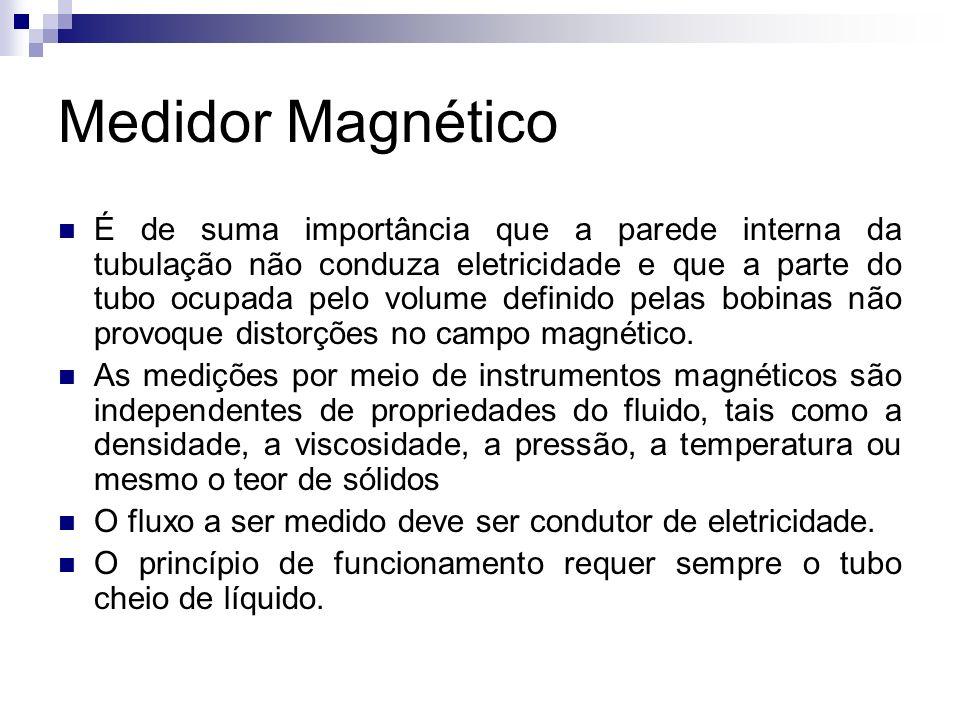 Medidor Magnético É de suma importância que a parede interna da tubulação não conduza eletricidade e que a parte do tubo ocupada pelo volume definido