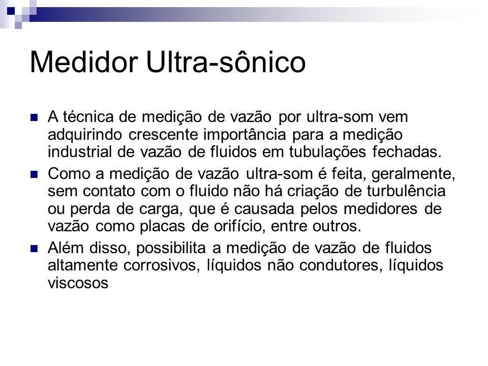 Medidor Ultra-sônico A técnica de medição de vazão por ultra-som vem adquirindo crescente importância para a medição industrial de vazão de fluidos em