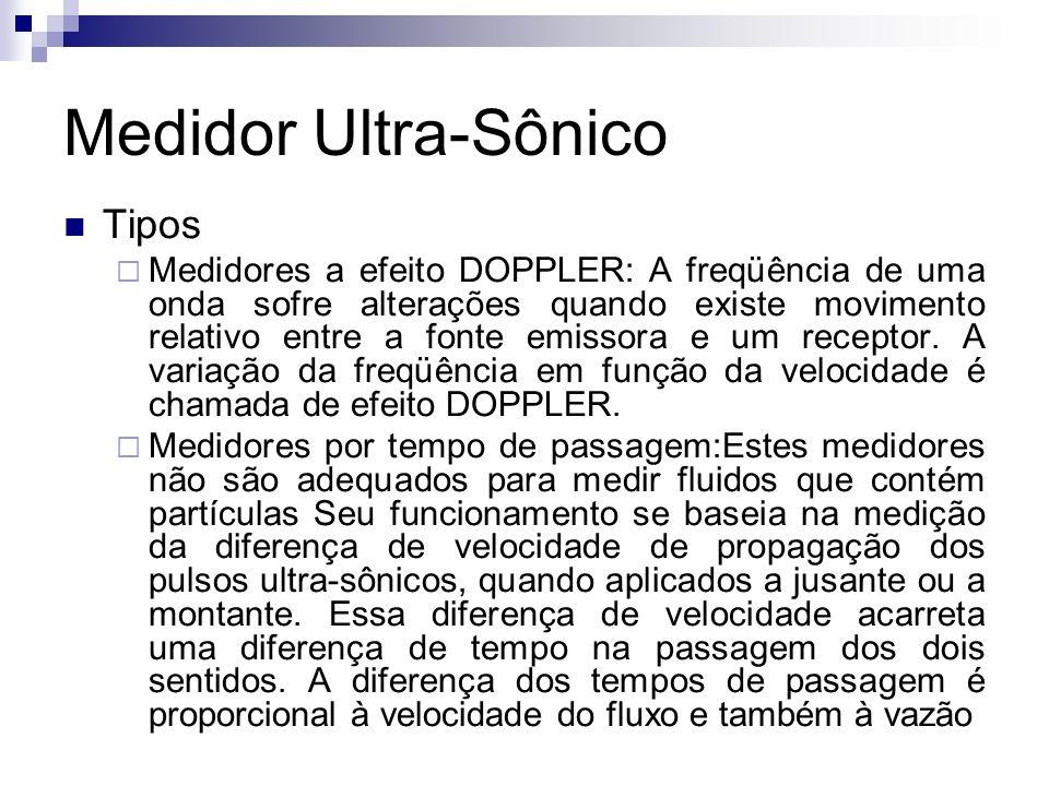 Medidor Ultra-Sônico Tipos Medidores a efeito DOPPLER: A freqüência de uma onda sofre alterações quando existe movimento relativo entre a fonte emisso