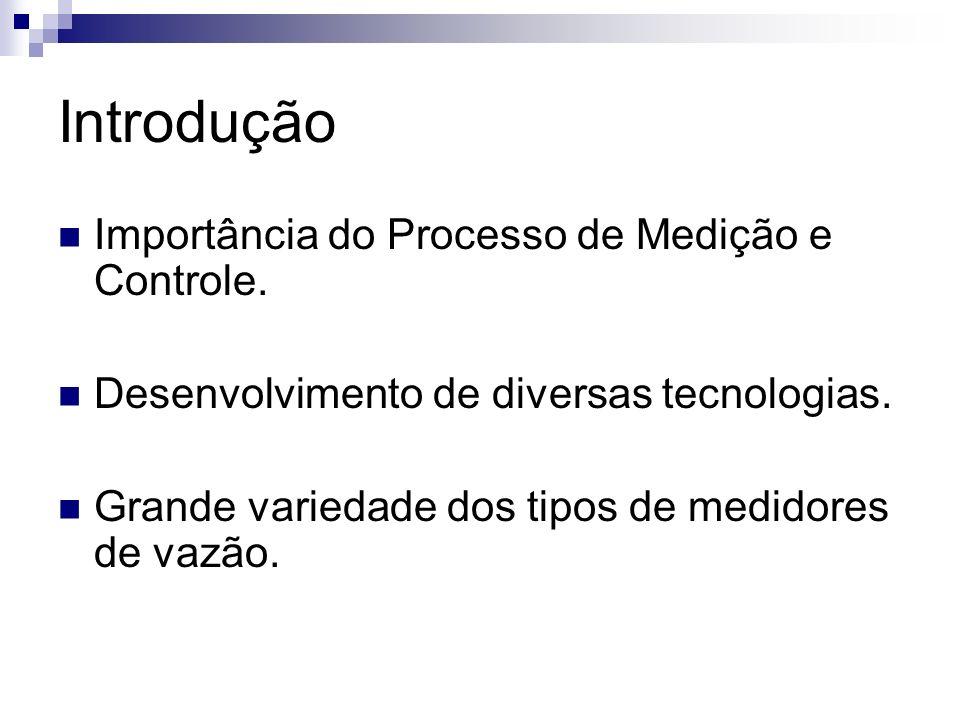Introdução Importância do Processo de Medição e Controle. Desenvolvimento de diversas tecnologias. Grande variedade dos tipos de medidores de vazão.