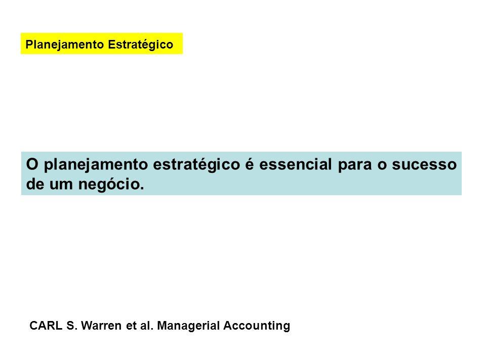 O planejamento estratégico é essencial para o sucesso de um negócio. Planejamento Estratégico CARL S. Warren et al. Managerial Accounting