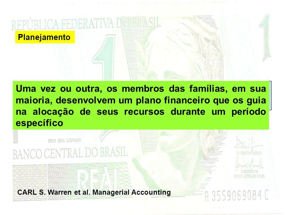 Uma vez ou outra, os membros das famílias, em sua maioria, desenvolvem um plano financeiro que os guia na alocação de seus recursos durante um período