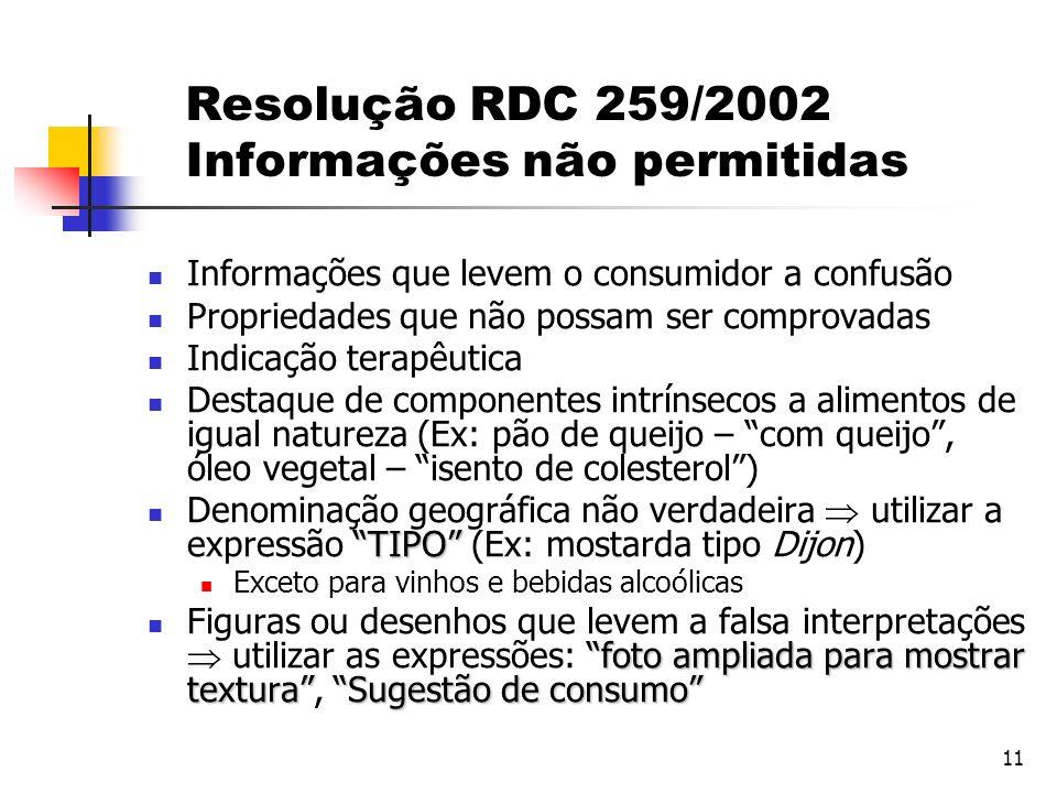 11 Resolução RDC 259/2002 Informações não permitidas Informações que levem o consumidor a confusão Propriedades que não possam ser comprovadas Indicaç