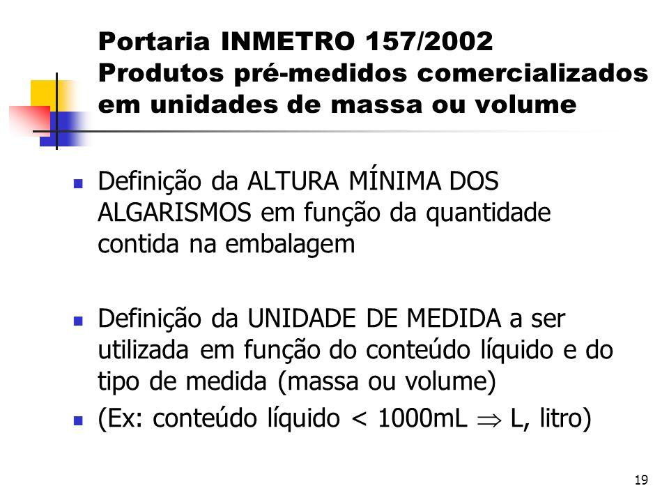 19 Portaria INMETRO 157/2002 Produtos pré-medidos comercializados em unidades de massa ou volume Definição da ALTURA MÍNIMA DOS ALGARISMOS em função d