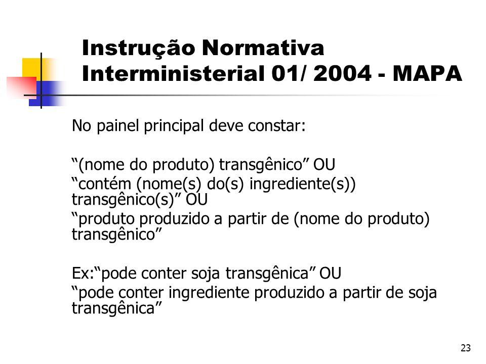 23 No painel principal deve constar: (nome do produto) transgênico OU contém (nome(s) do(s) ingrediente(s)) transgênico(s) OU produto produzido a part