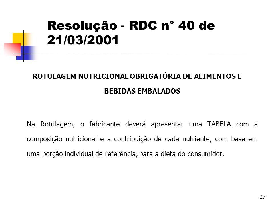 27 Resolução - RDC n° 40 de 21/03/2001 ROTULAGEM NUTRICIONAL OBRIGATÓRIA DE ALIMENTOS E BEBIDAS EMBALADOS Na Rotulagem, o fabricante deverá apresentar