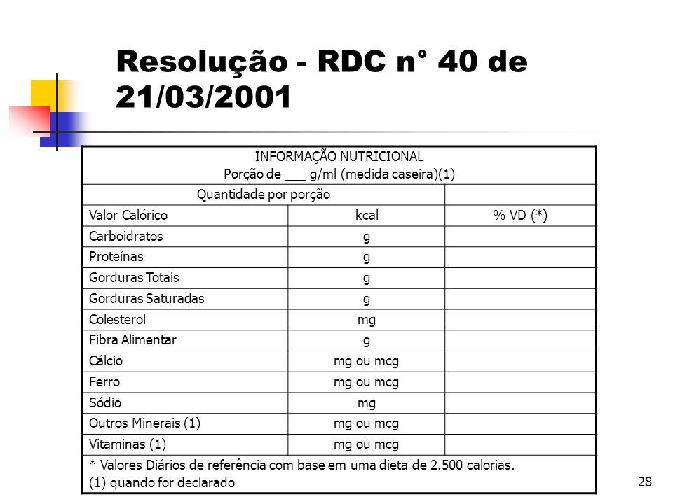 28 Resolução - RDC n° 40 de 21/03/2001 INFORMAÇÃO NUTRICIONAL Porção de ___ g/ml (medida caseira)(1) Quantidade por porção Valor Calóricokcal% VD (*)