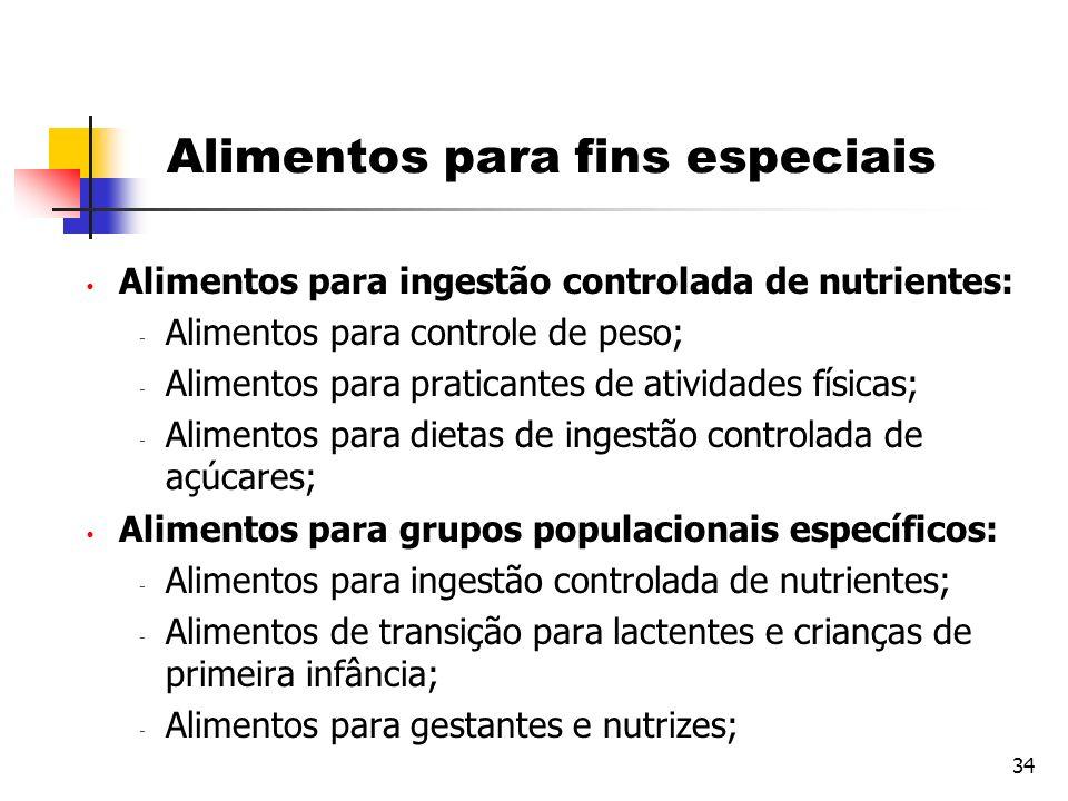 34 Alimentos para fins especiais Alimentos para ingestão controlada de nutrientes:  Alimentos para controle de peso;  Alimentos para praticantes de