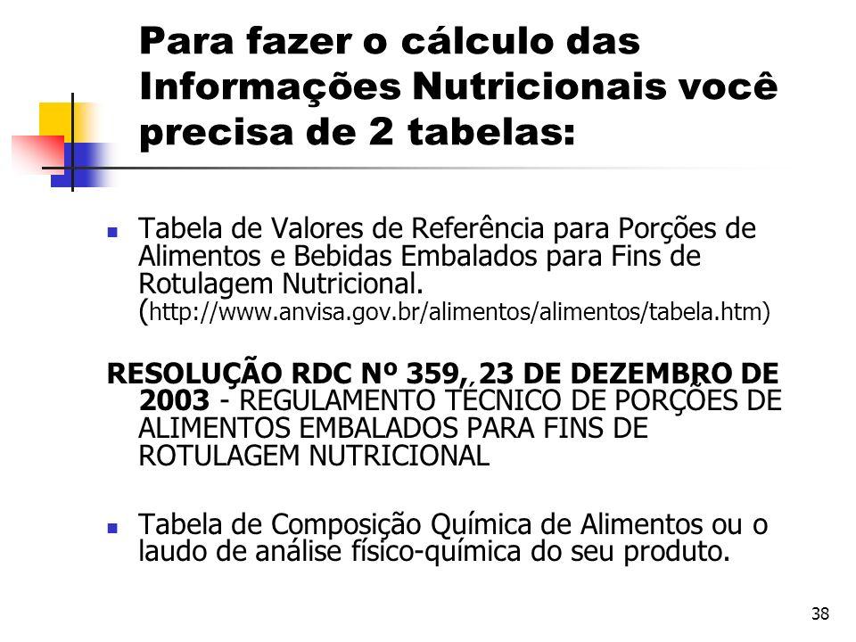 38 Para fazer o cálculo das Informações Nutricionais você precisa de 2 tabelas: Tabela de Valores de Referência para Porções de Alimentos e Bebidas Em