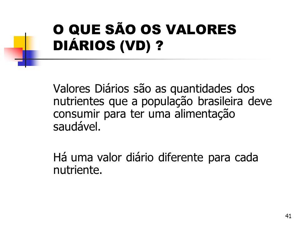 41 O QUE SÃO OS VALORES DIÁRIOS (VD) ? Valores Diários são as quantidades dos nutrientes que a população brasileira deve consumir para ter uma aliment