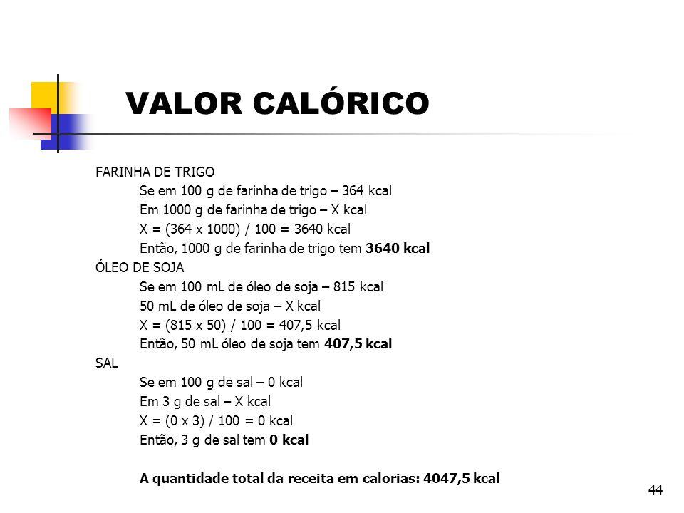 44 VALOR CALÓRICO FARINHA DE TRIGO Se em 100 g de farinha de trigo – 364 kcal Em 1000 g de farinha de trigo – X kcal X = (364 x 1000) / 100 = 3640 kca