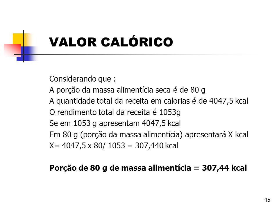 45 Considerando que : A porção da massa alimentícia seca é de 80 g A quantidade total da receita em calorias é de 4047,5 kcal O rendimento total da re