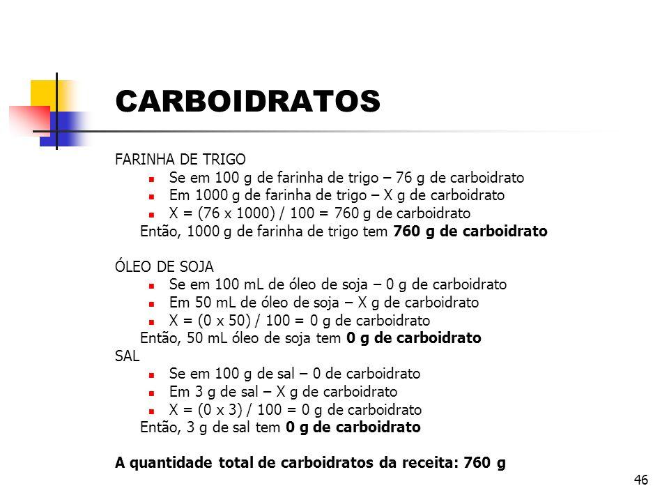 46 CARBOIDRATOS FARINHA DE TRIGO Se em 100 g de farinha de trigo – 76 g de carboidrato Em 1000 g de farinha de trigo – X g de carboidrato X = (76 x 10