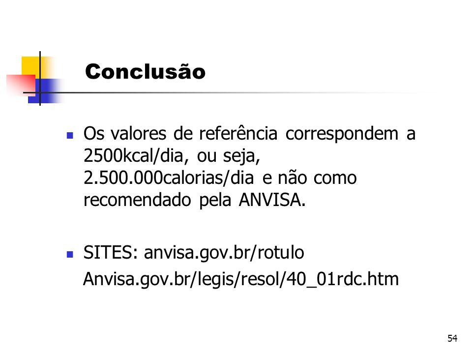 54 Conclusão Os valores de referência correspondem a 2500kcal/dia, ou seja, 2.500.000calorias/dia e não como recomendado pela ANVISA. SITES: anvisa.go