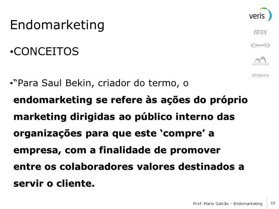 10 Prof. Mario Galvão - Endomarketing Endomarketing CONCEITOS endomarketing se refere às ações do próprio marketing dirigidas ao público interno das o