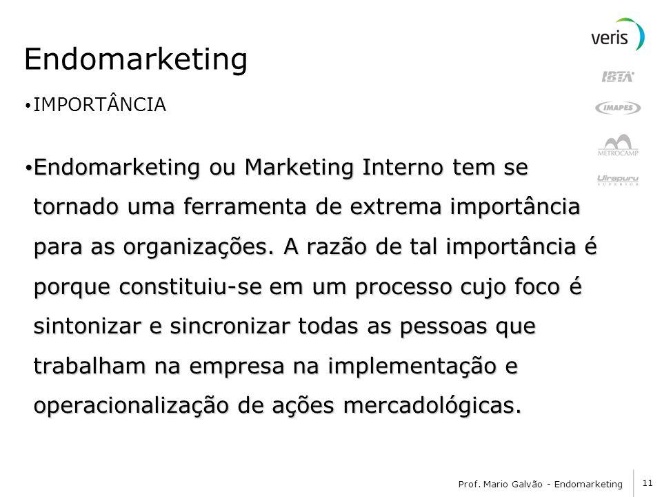 11 Prof. Mario Galvão - Endomarketing Endomarketing IMPORTÂNCIA Endomarketing ou Marketing Interno tem se tornado uma ferramenta de extrema importânci