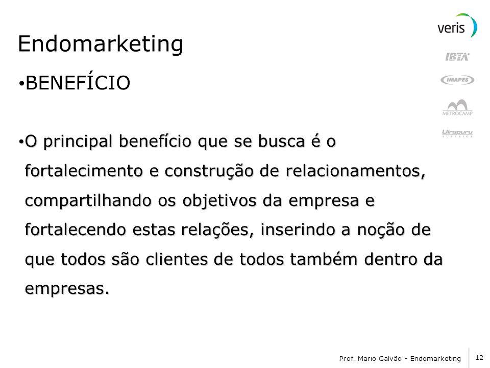 12 Prof. Mario Galvão - Endomarketing Endomarketing BENEFÍCIO O principal benefício que se busca é o fortalecimento e construção de relacionamentos, c