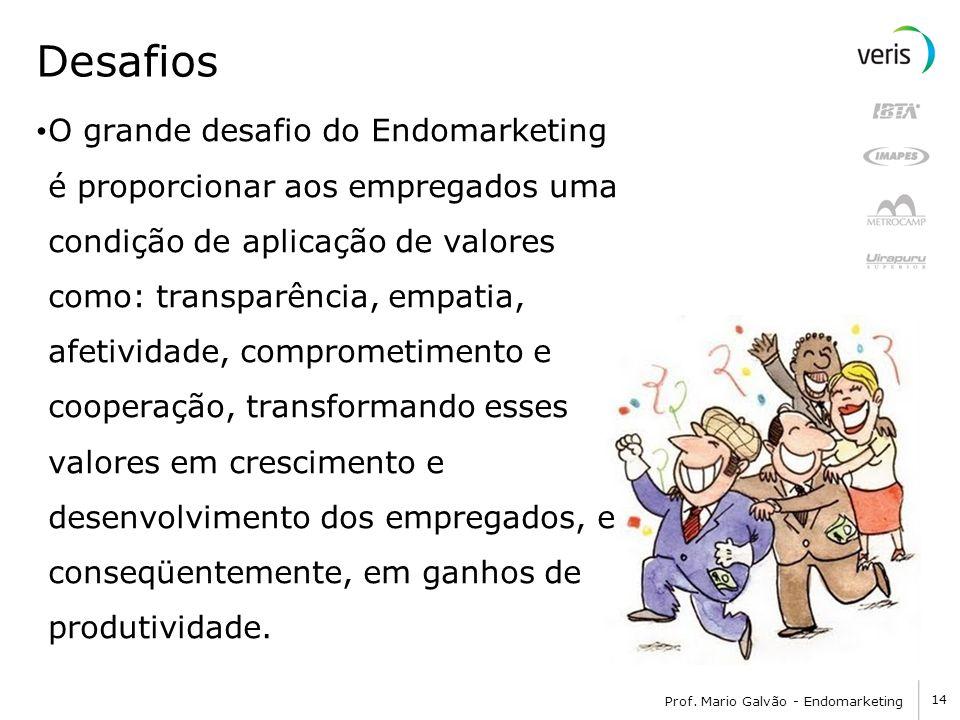 14 Prof. Mario Galvão - Endomarketing Desafios O grande desafio do Endomarketing é proporcionar aos empregados uma condição de aplicação de valores co