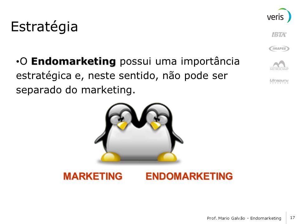 17 Prof. Mario Galvão - Endomarketing Estratégia Endomarketing O Endomarketing possui uma importância estratégica e, neste sentido, não pode ser separ